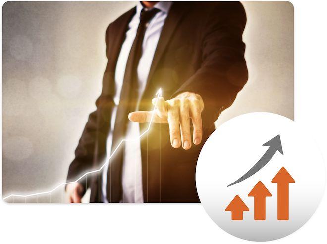 Business man increasing profits